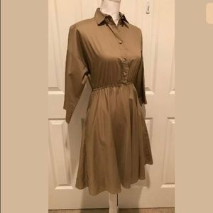 XS vintage 70s 80s American Shirt-Dress khaki